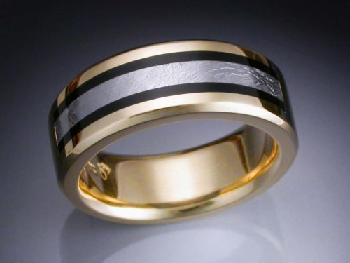 14k Gold Mans Ring With Black Jade And Meteorite Inlay