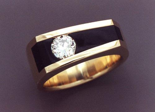 Diamond And Black Jade Mans Ring Metamorphosis Jewelry