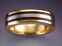 14k Gold Ring with Dinosaur Bone & Meteorite ...