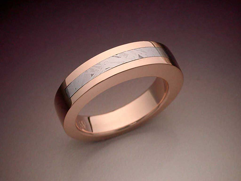 14k Rose Gold Amp Meteorite Inlaid Ring Metamorphosis