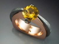 14k Rose Gold Ring with Heliodor & Gibeon Meteorite ...
