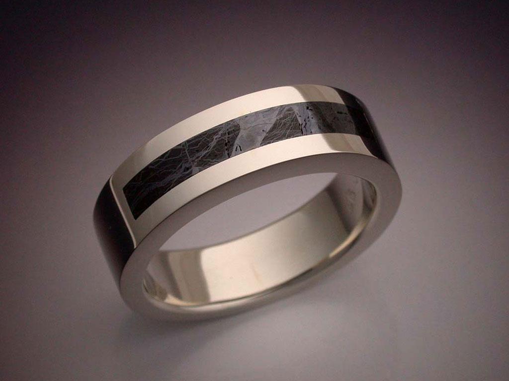 14k White Gold Ring With Huckitta Meteorite