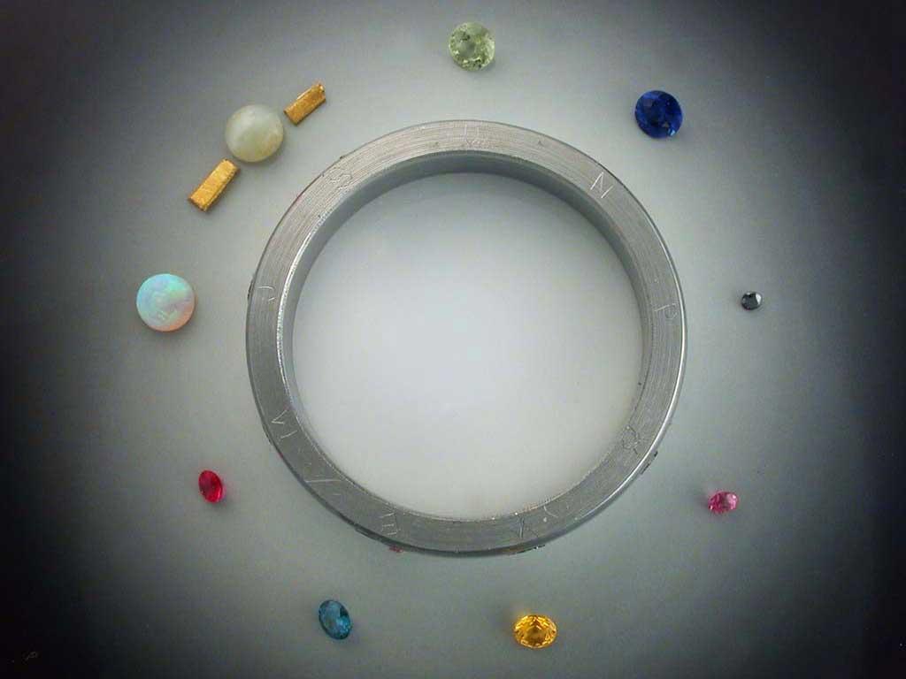 18k Gold Nine Planets Ring With Meteorite Amp Gemstones