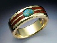 18k Gold Ring with Opal & Dinosaur bone - Metamorphosis ...