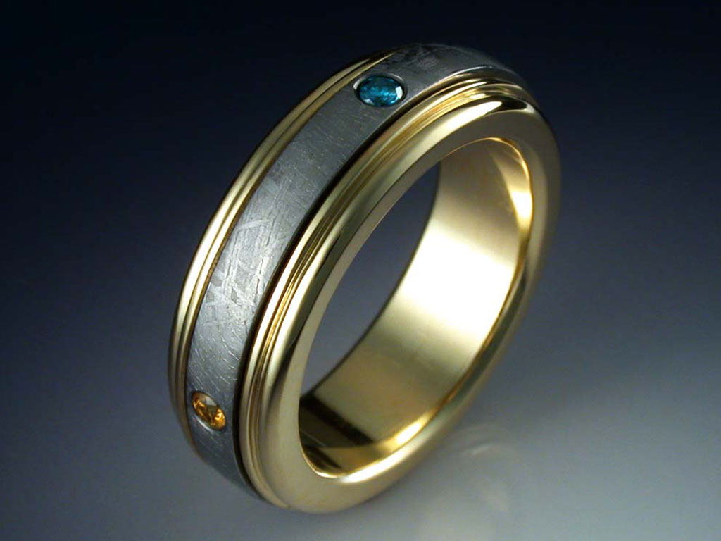 18k Gold Four Planets Ring With Meteorite Amp Gemstones