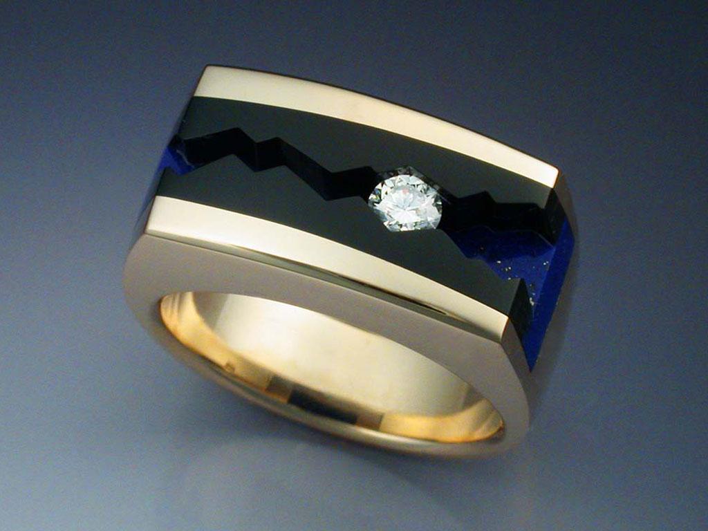14k Gold Ring With Black Jade Lapis Amp Diamond