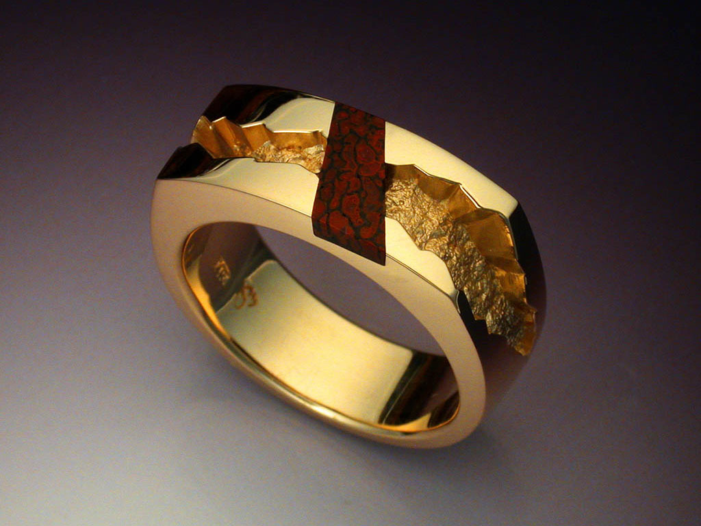 Inlaid Ring With Gem Dinosaur Bone Metamorphosis Jewelry