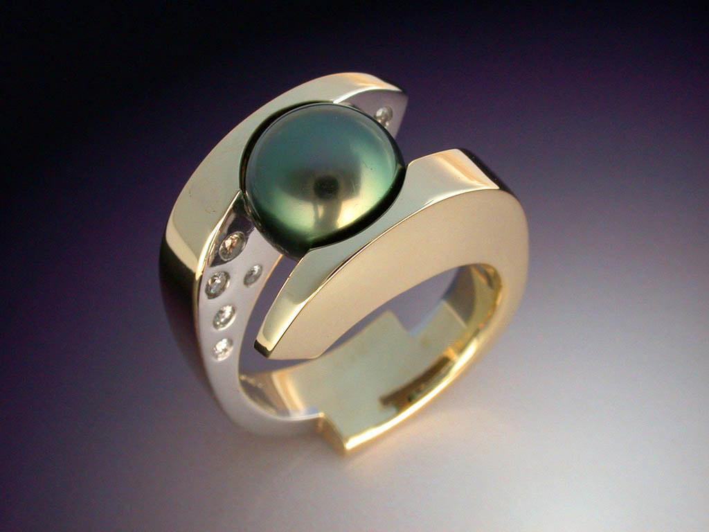 Tahitian Black Pearl Amp Diamond Ring Metamorphosis
