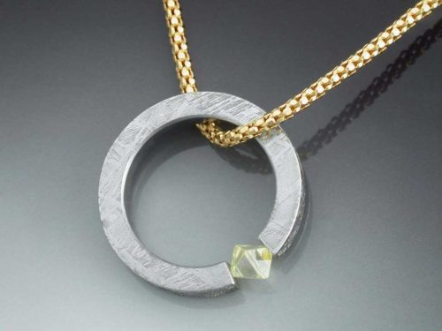 Tension Set Diamond Crystal Amp Meteorite Pendant