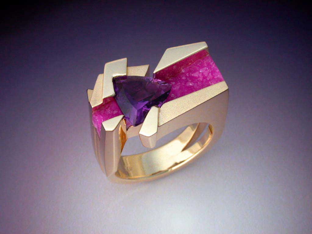 Unique Ring with Amethyst  Pink Druse  Metamorphosis Jewelry Design