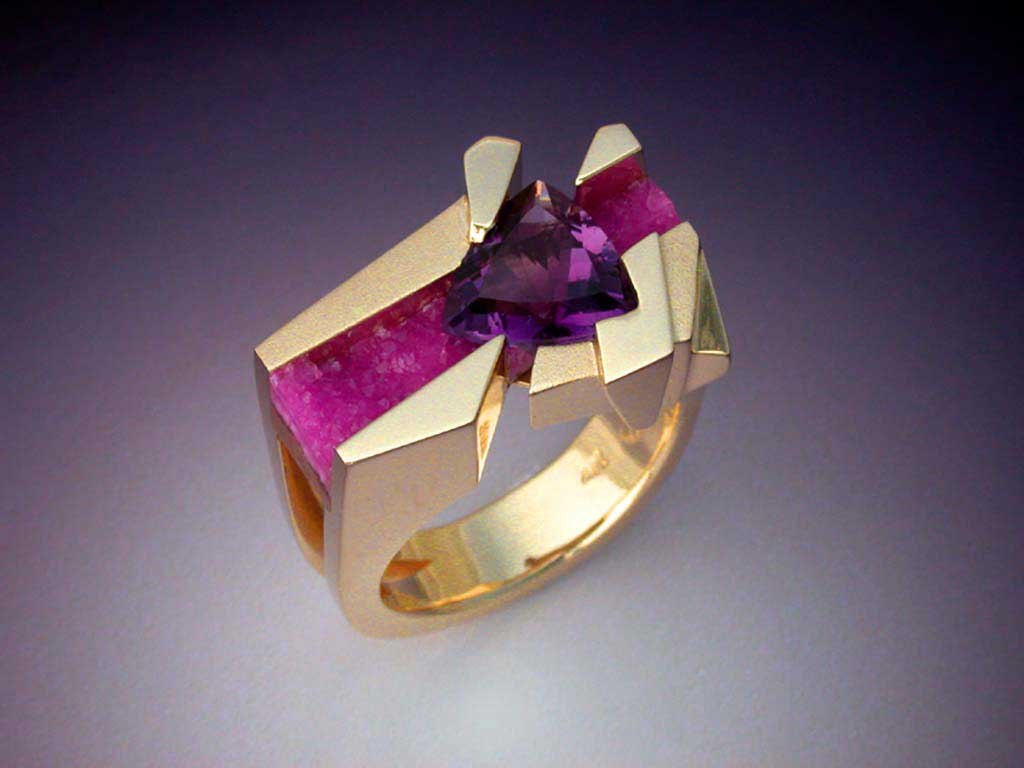 Unique Ring With Amethyst Amp Pink Druse Metamorphosis