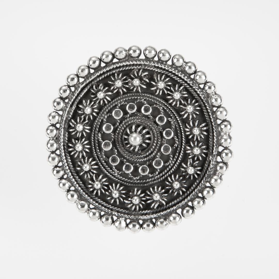 Inel Rotund Mare Floare Granulat Argint India