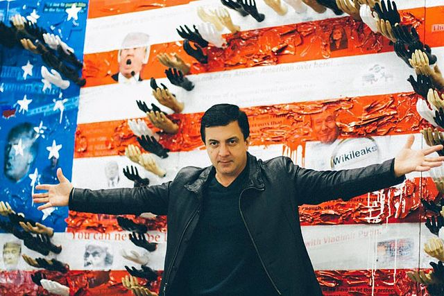 Artist David Datuna with Make America Stronger Together Installation
