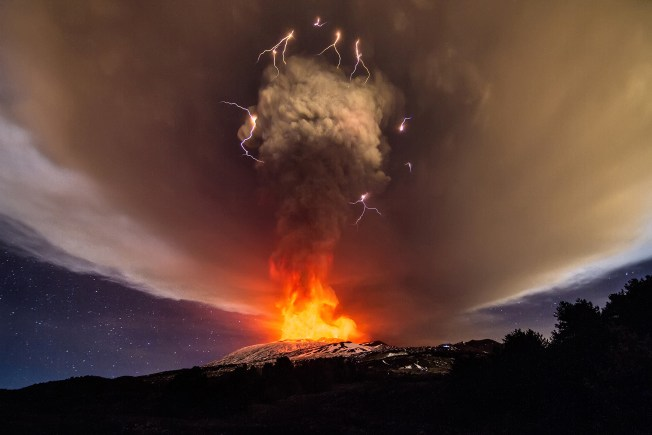 Mount Etna erupting on December 3, 2015