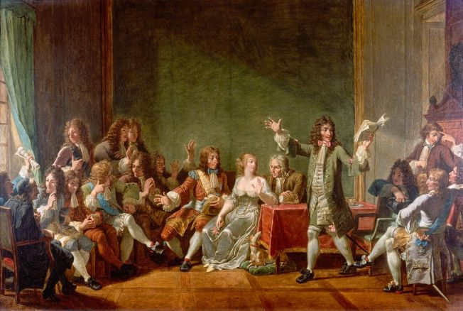 "Molière reading Tartuffe at the literary salon of Anne ""Ninon"" de Lenclos by Nicolas-André Monsiau"