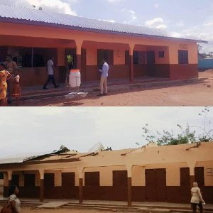 The re-roofed three-unit classroom block with other ancillary valued at GHC45, 000