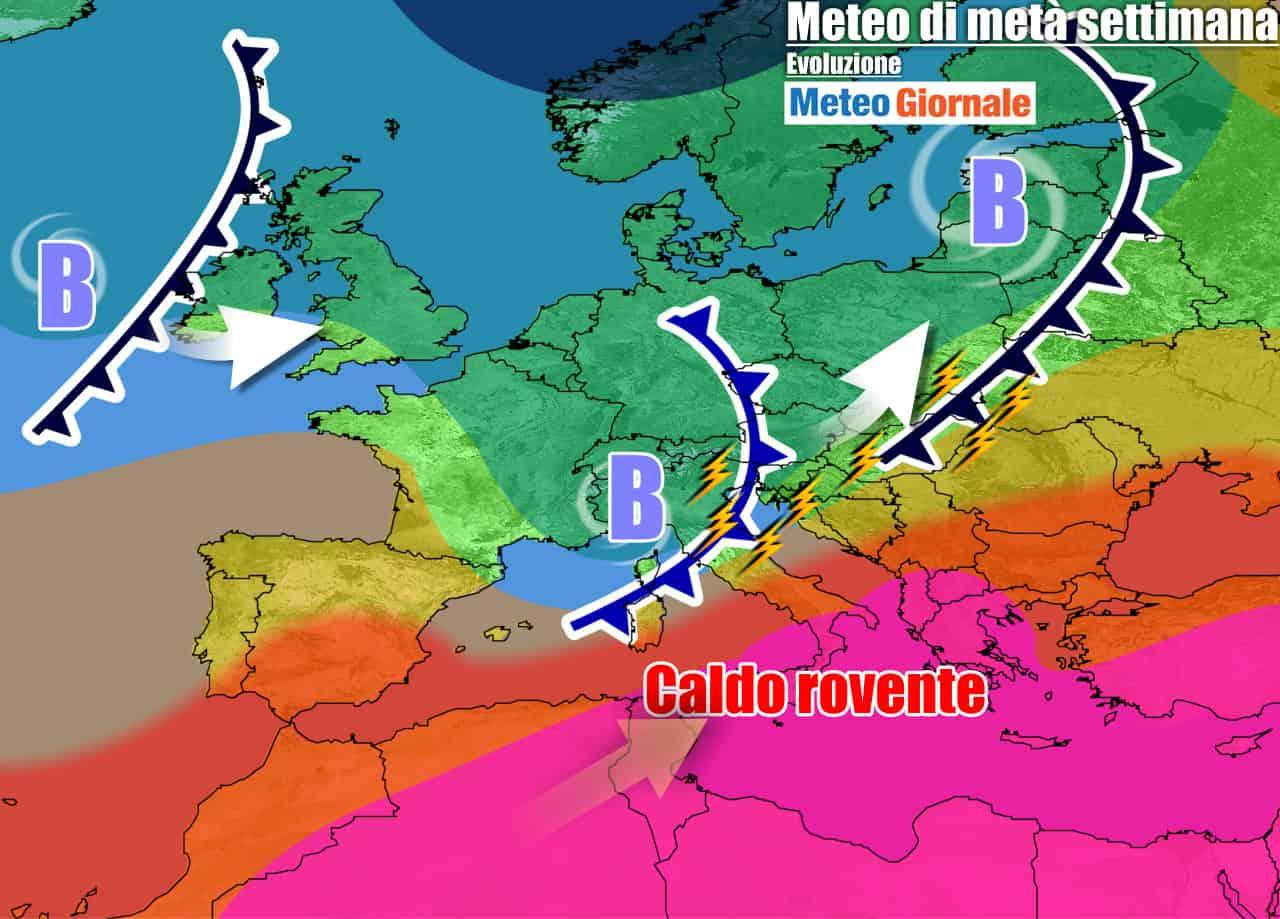 METEO 7 Giorni. ESTATE INCEPPATA al Nord, nuovi temporali. Sud si INFIAMMA
