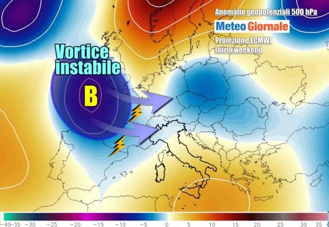 Nuova ondata di temporali su parte dell'Italia nel weekend