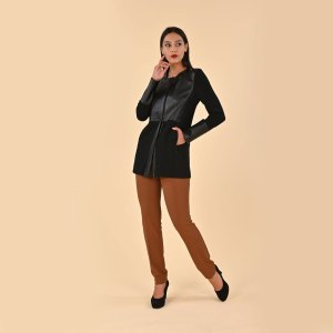 giacca lunga da donna in ecopelle