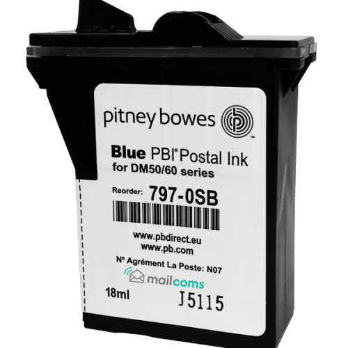 Pitney Bowes DM50 / DM55 / DM60 Original Blue Ink Cartridge