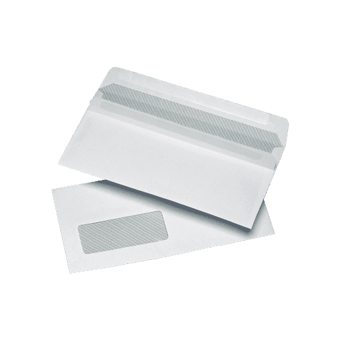 1000 White DL Windowed (35mm x 90mm) Self Seal Envelopes (110mm x 220mm)