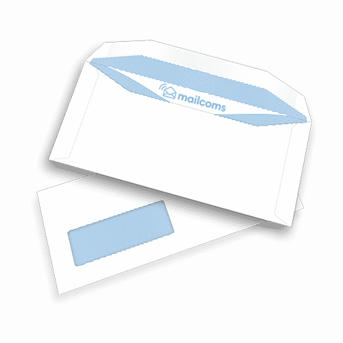 1000 White DL+ Gummed Windowed (45mm x 90mm) Envelopes (114mm x 235mm)