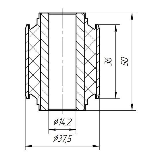 Сайлентблок заднего прямого поперечного рычага 14х37
