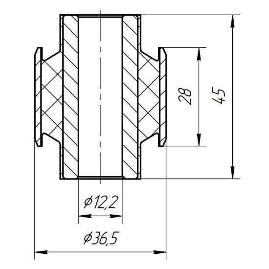 Сайлентблок поперечного прямого рычага задней подвески 12