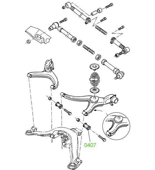 0407 Сайлентблок заднего рычага наружный Opel Omega-A