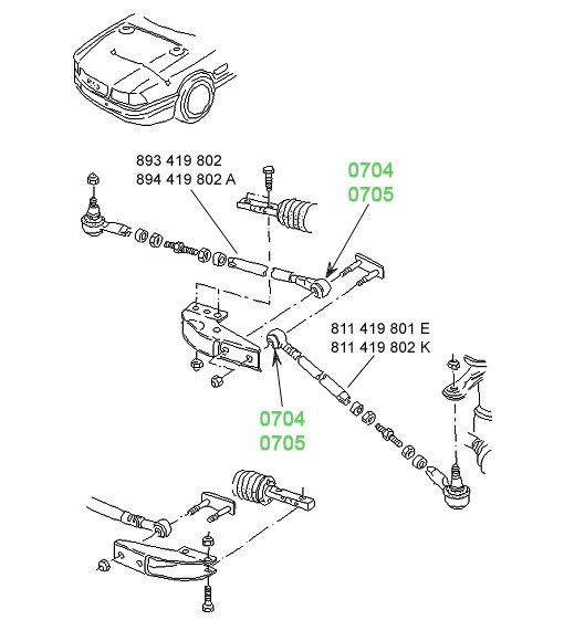 0704 Сайлентблок рулевой тяги 10,2 x 28,7 x 28 Audi 80/90