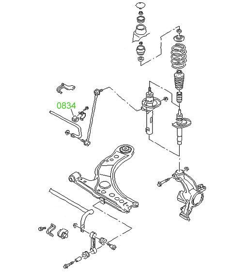 0853 Втулка переднего стабилизатора Volkswagen Caddy 2004