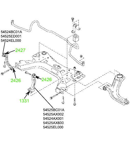 Сайлентблок левой соединительной тяги подрамника нижний