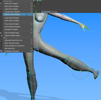 how to rig in maya hammer skin weights screen