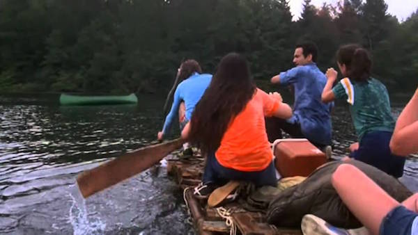 the burning raft scene