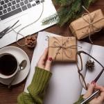 Woman holding Christmas gift
