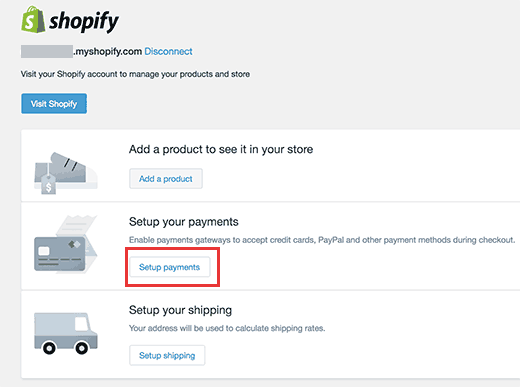 setup payment to shopify