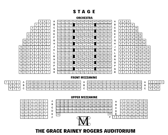 Grace Rainey Rogers Auditorium Seating Chart