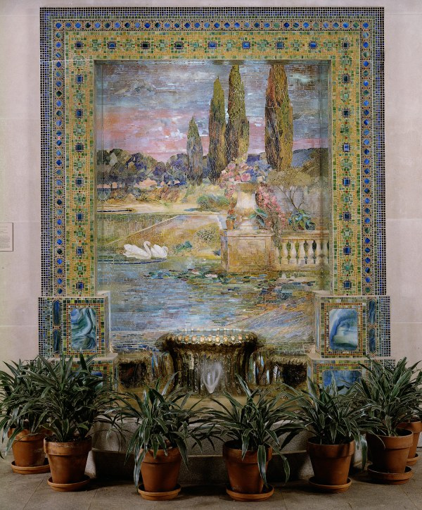 Louis Comfort Tiffany Garden Landscape And Fountain 1976