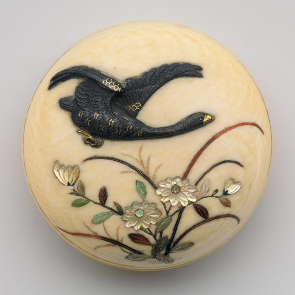 Netsuke Of Flying Goose Over Flowers Work Art Heilbrunn Timeline History