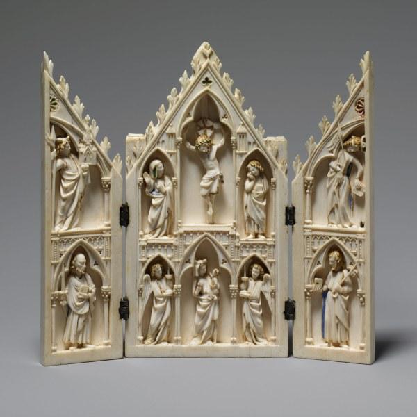 1275 French Gothic Triptych Ivory
