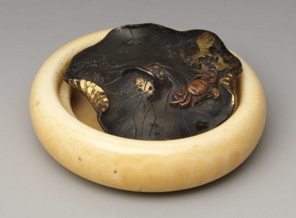 Netsuke In Shape Of Crab Lotus Leaf Work Art Heilbrunn Timeline History