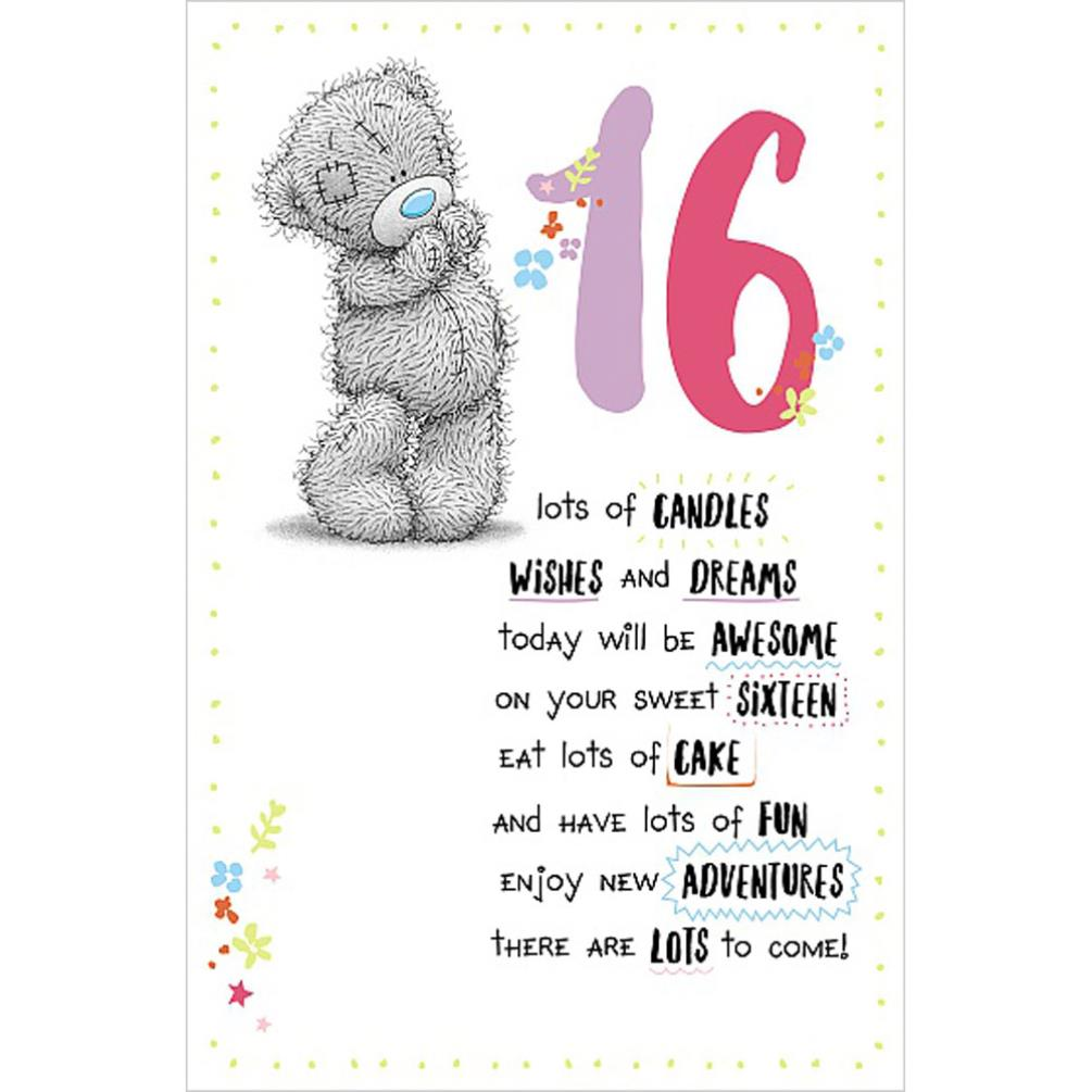 16th Birthday Me To You Bear Birthday Card ASE01005 Me