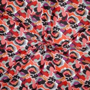 Jersey viscosa lucida – floreale toni rosso
