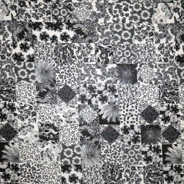 Tessuto jersey viscosa lucida patchwork nero