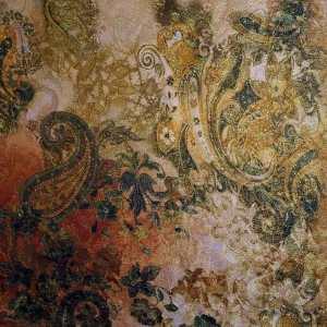 Jacquard lamè oro stampato – disegno floreale toni beige verde rosso
