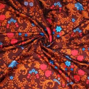 Raso lana seta imprimè – floreale su fondo rosso