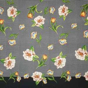 Tessuto imprimè pannello 145 cm – Floreale su pied de poule