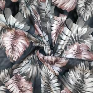Envers satin di seta stretch – Foglie toni grigio cipria