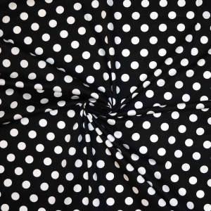 Cotone imprimè stretch – pois bianco fondo nero