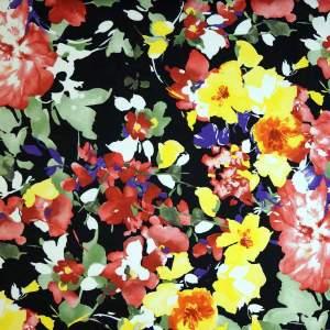 Cotone imprimè stretch – floreale pennellate fondo nero